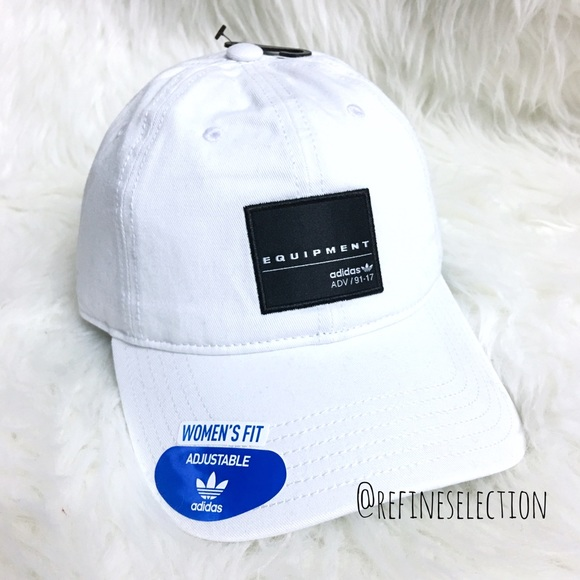 d46e5aa96a9 adidas Equipment White Black Relaxed Strapback Hat